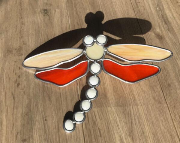 Libelle Glas in lood duotoon oranje