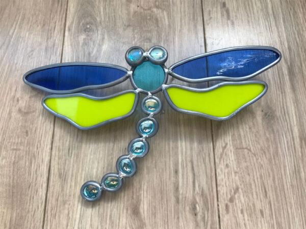 Libelle Glas in lood blauw-groen