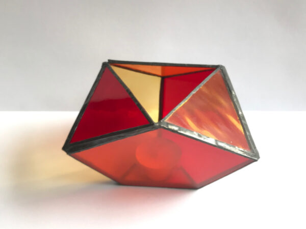 Theelichthouder oranje-geel-rood