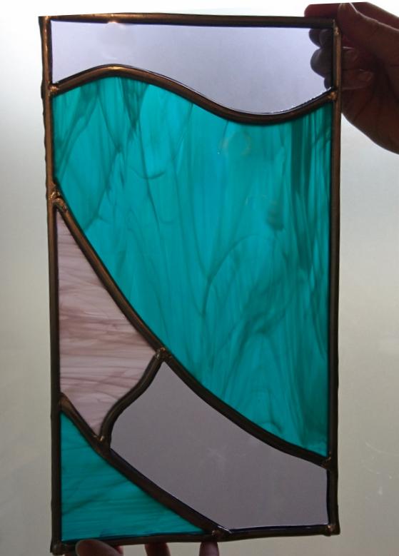 Eenvoudig glas in lood raam gebogen lijnen